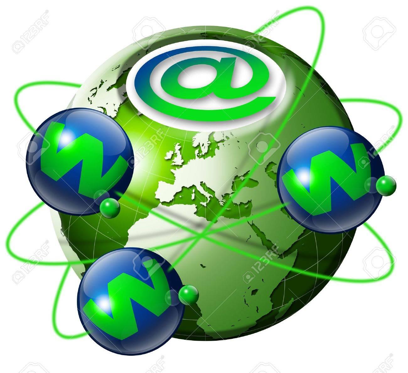 Ilustración Símbolo Www E Internet Con Globo Terrestre Verde Y 3 ...