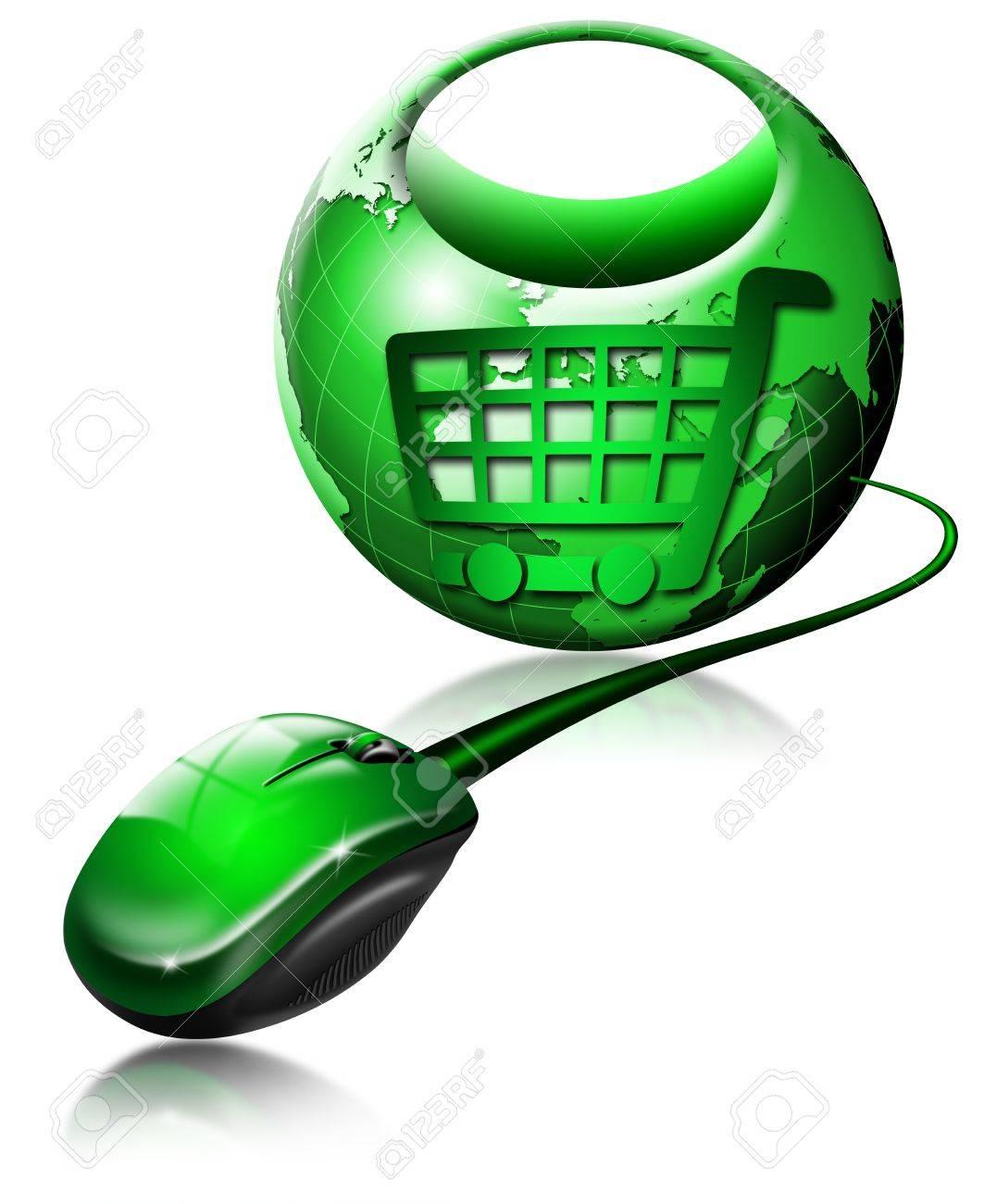Mouse and globe shaped shopping bag, symbol of shopping Stock Photo - 9918039