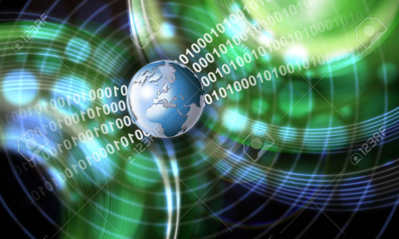Green and blue technology background with globe, shades and binary code - 10521175