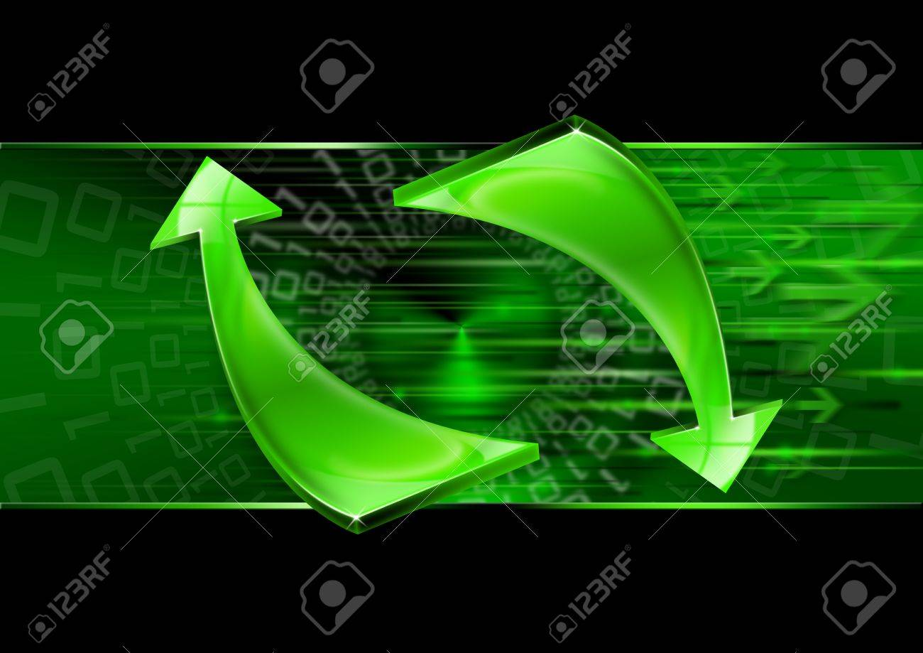 Abstract background with green arrows, internet connection and flow Stock Photo - 10567234