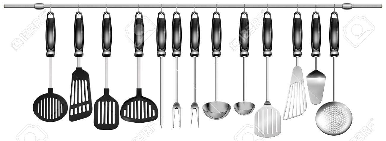 Kitchen Utensils Background illustration with 13 kitchen utensils hanging on steel pole on