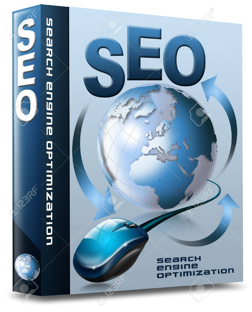 Box with globe, mouse and written SEO Stock Photo - 11588127