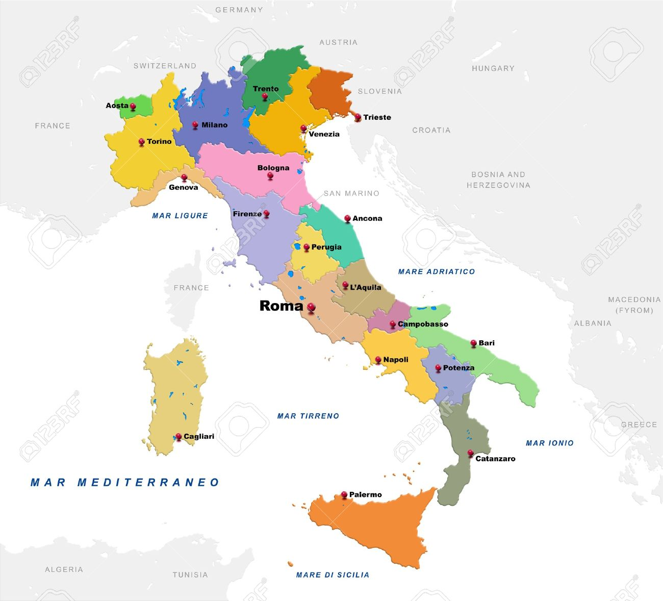 Map Of Italy With The Countries And Provincial Capitals Stock - Map of ancona italy