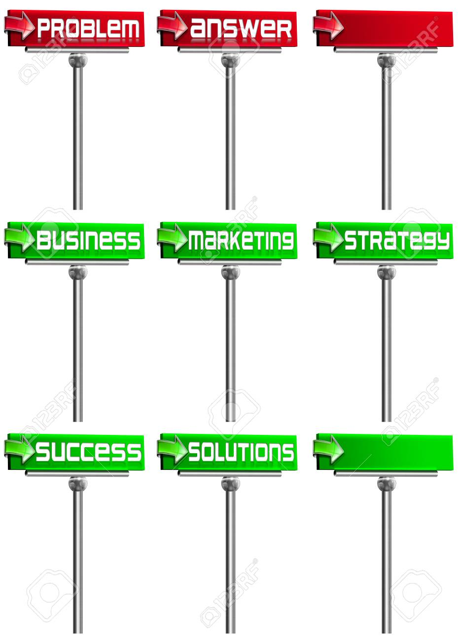 Six red and green business signs with steel pole on white background Stock Photo - 12085441