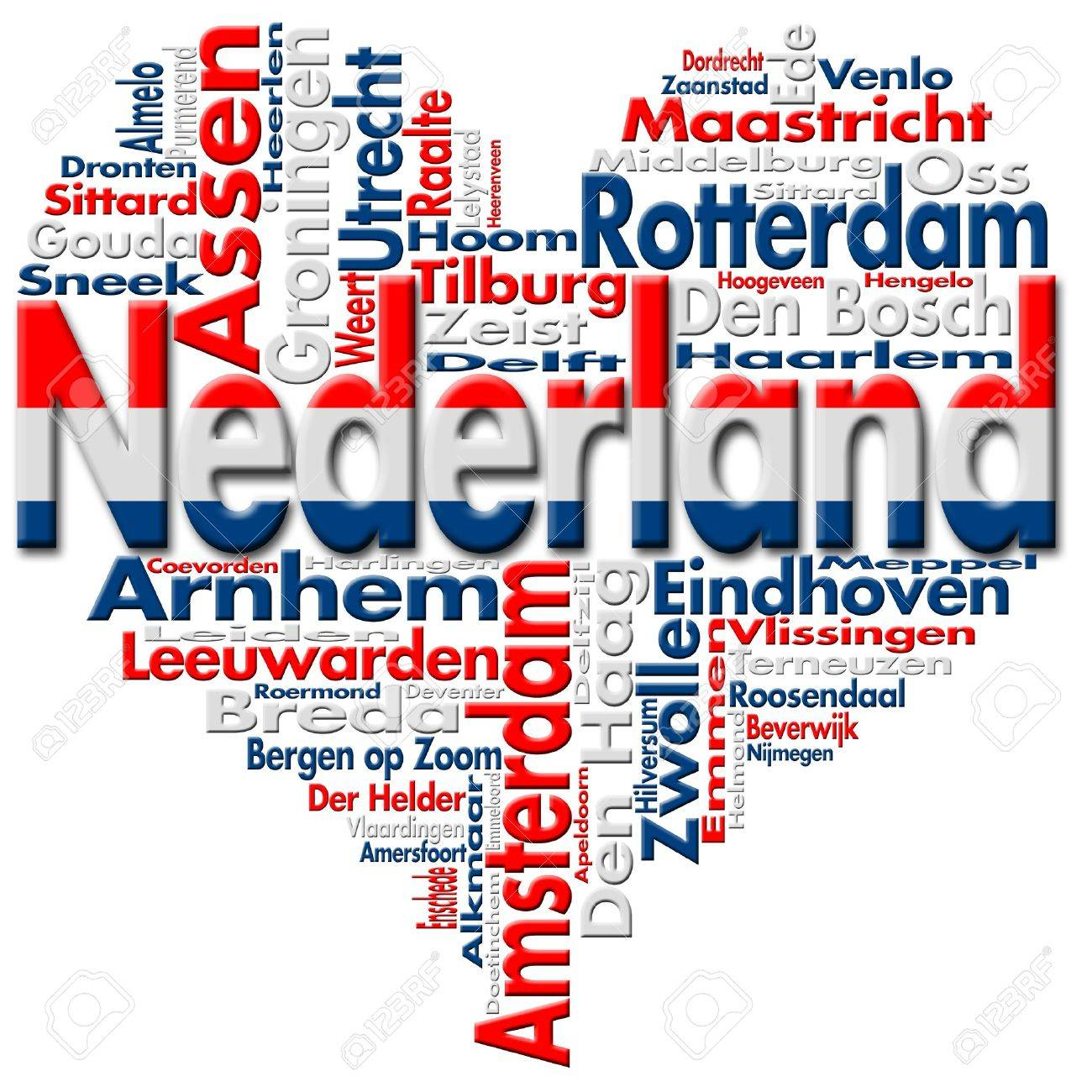 Written Nederland and Dutch cities with heart-shaped, Dutch flag colors - 12085454