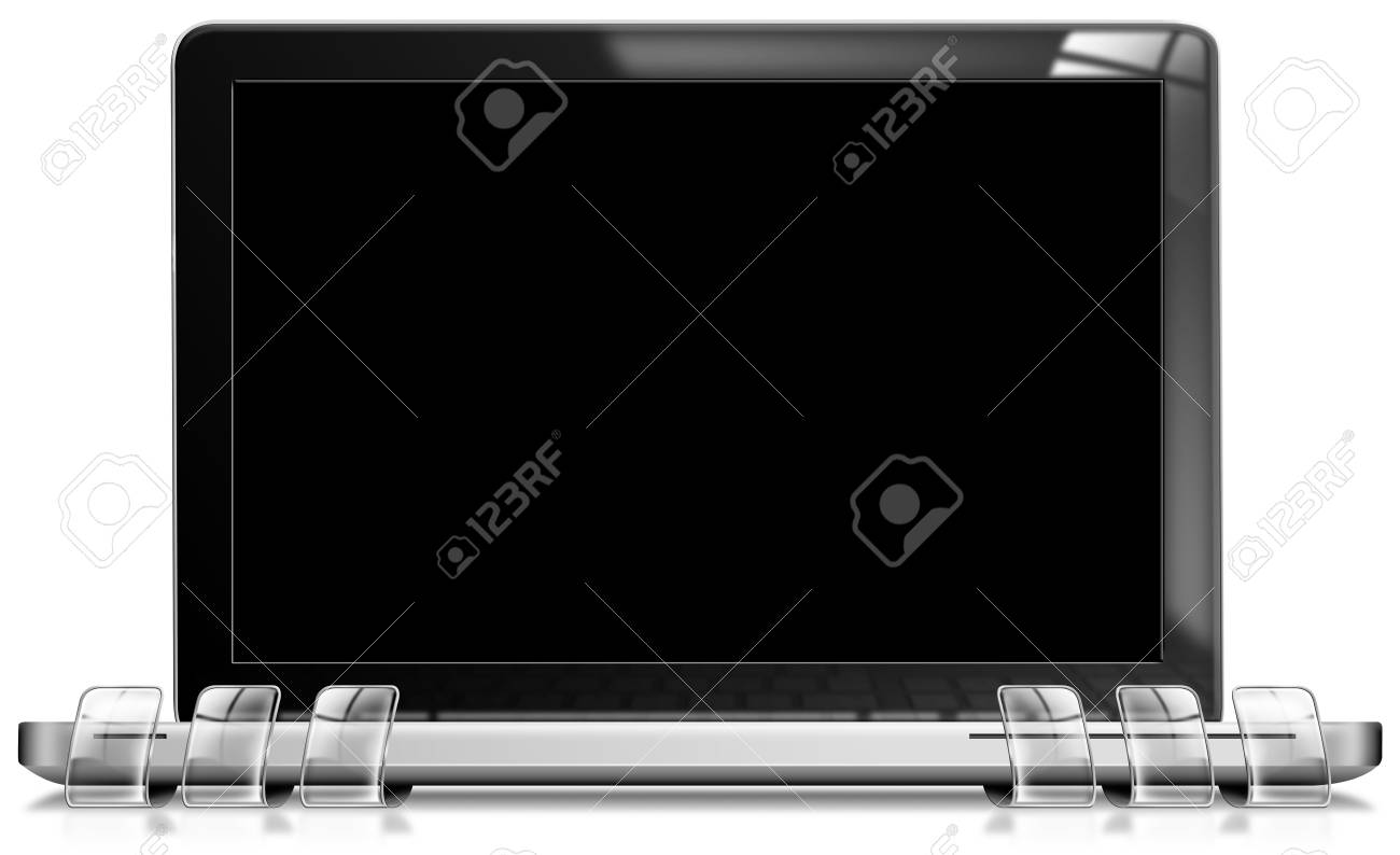 Modern laptop with black and blank screen for promotional message Stock Photo - 12331519