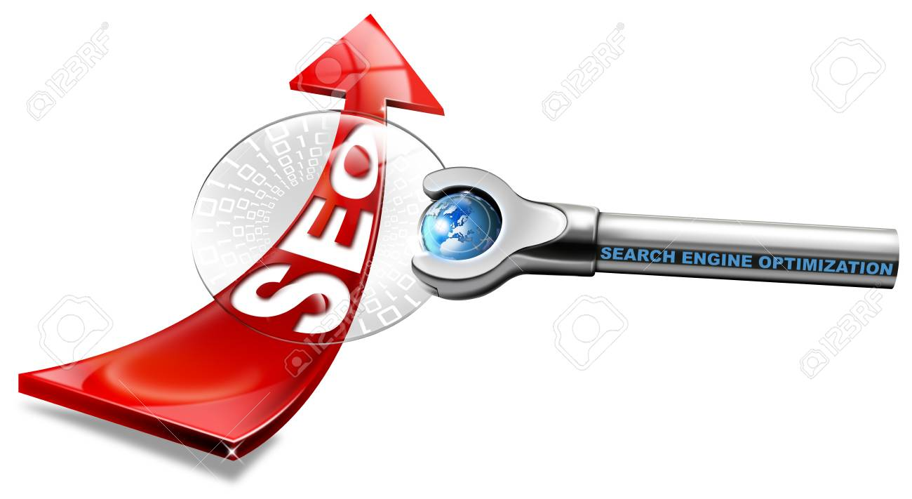 Written SEO with red arrow and magnifying glass, and written: search engine optimization Stock Photo - 12331550