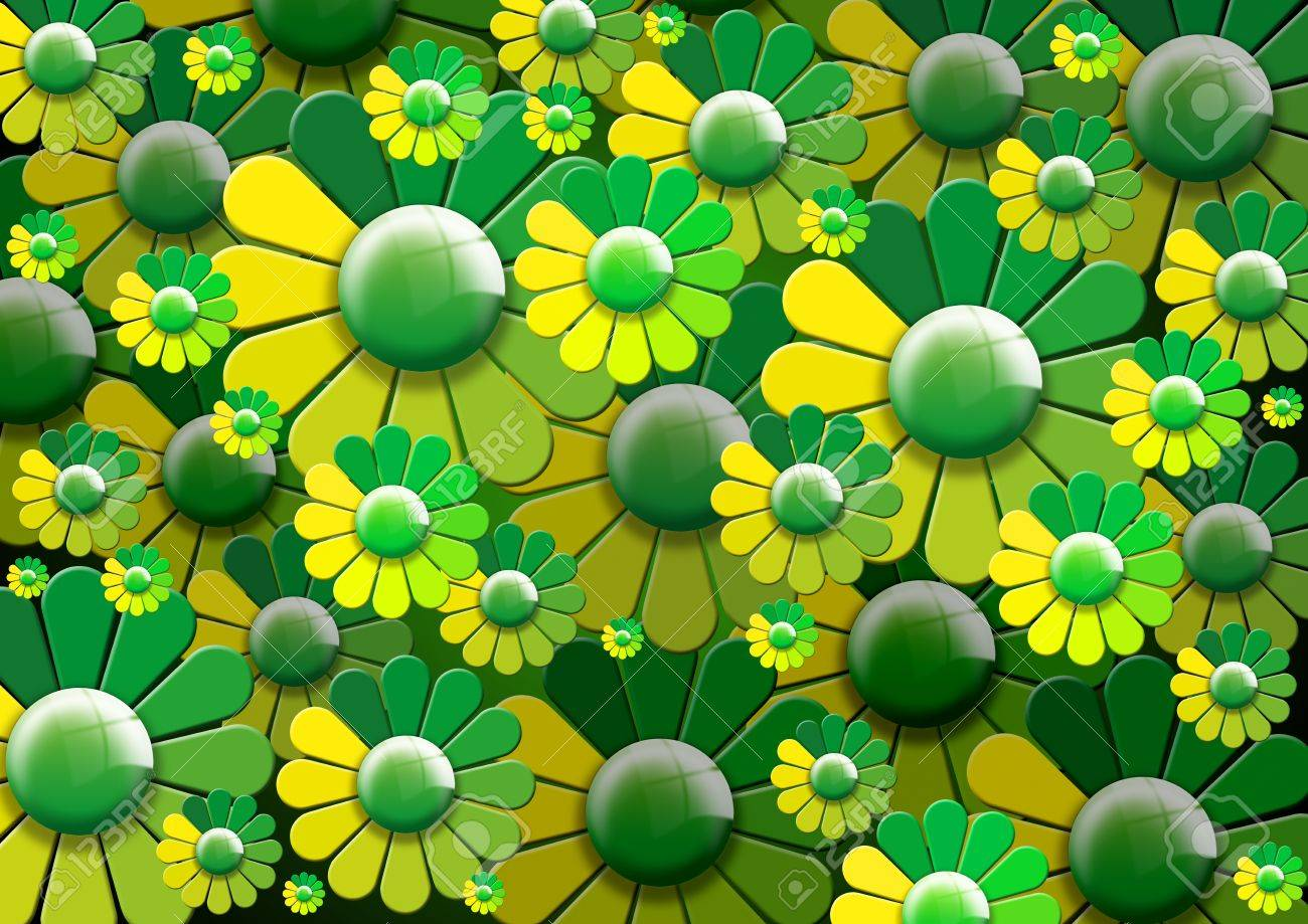 Background with stylized green and yellow flowers Stock Photo - 12755055
