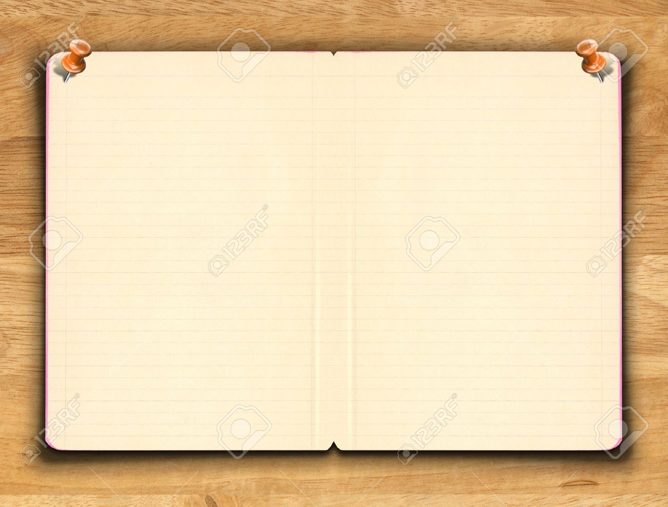 blank notebook paper with line on the wooden background stock photo