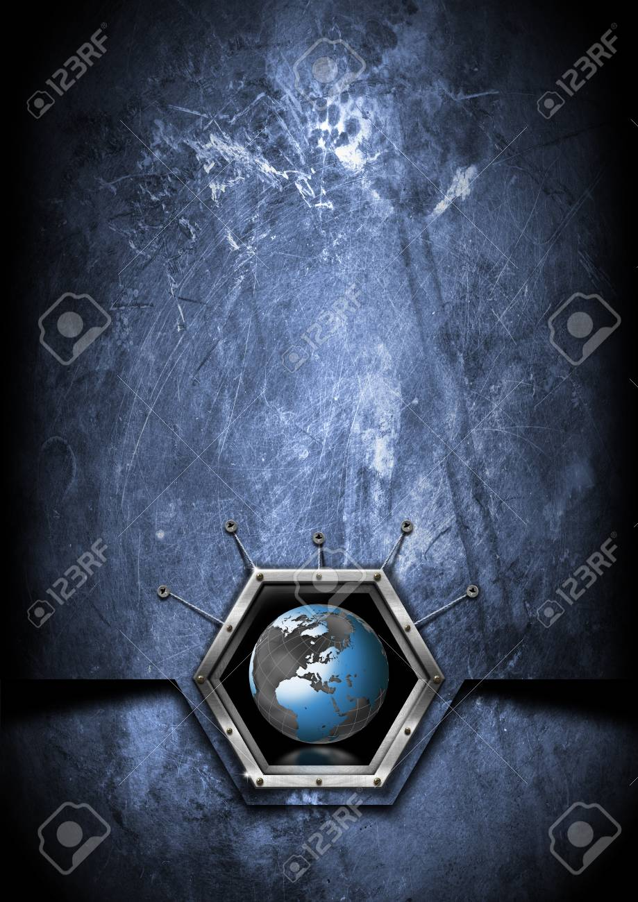 Blue and black grungy business background with terrestrial globe Stock Photo - 15497707