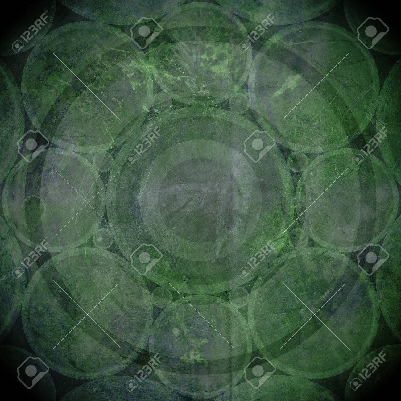 Green and black grunge background with circles Stock Photo - 15326363
