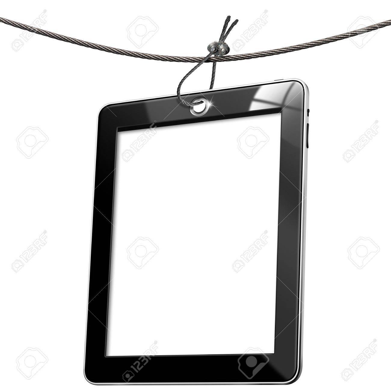 Noir Tag Ordinateur Tablette Suspendue à Un Câble D Acier Sur Fond Blanc