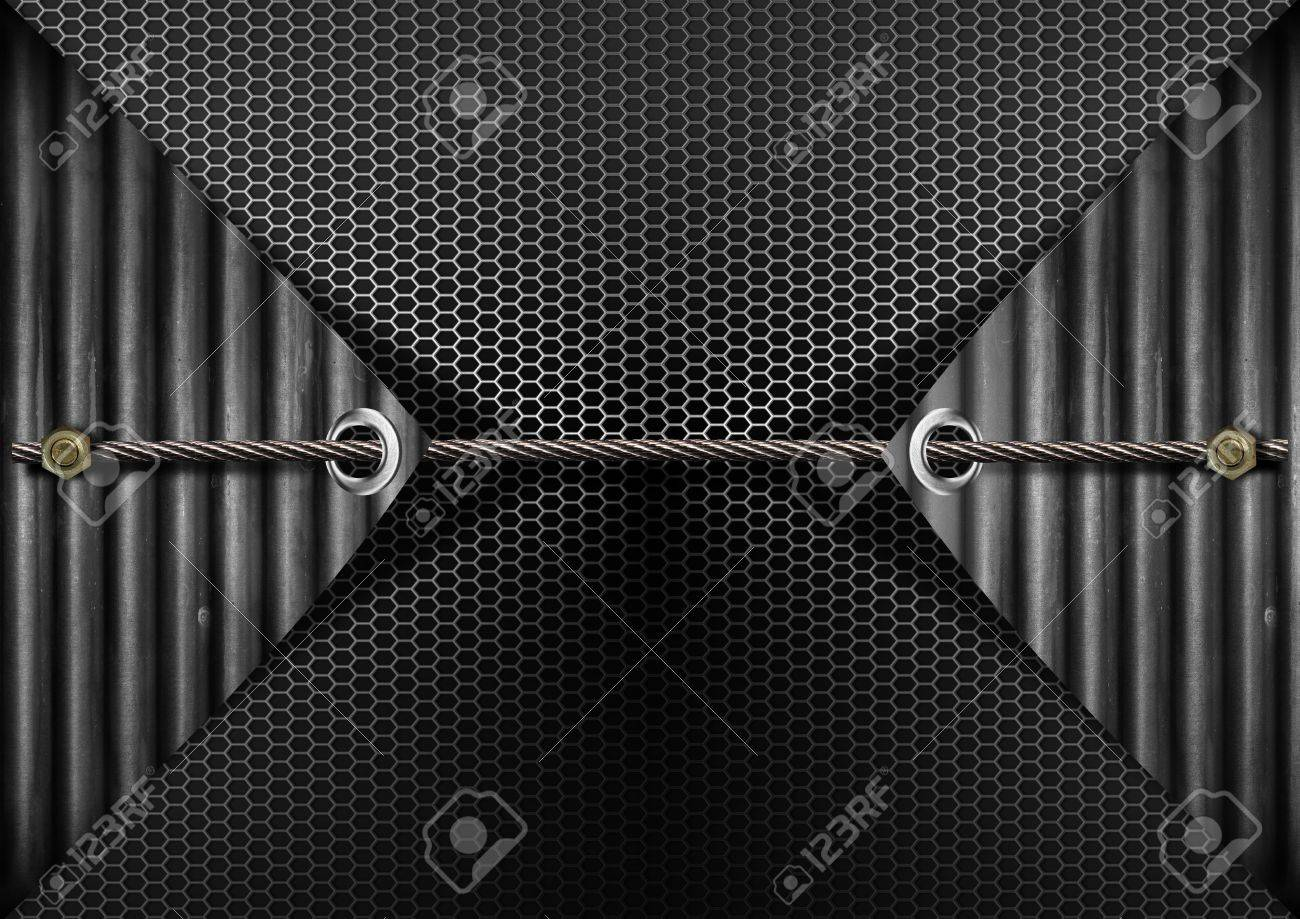 Metallic grunge background with metal cable and bolts heads Stock Photo - 15653897