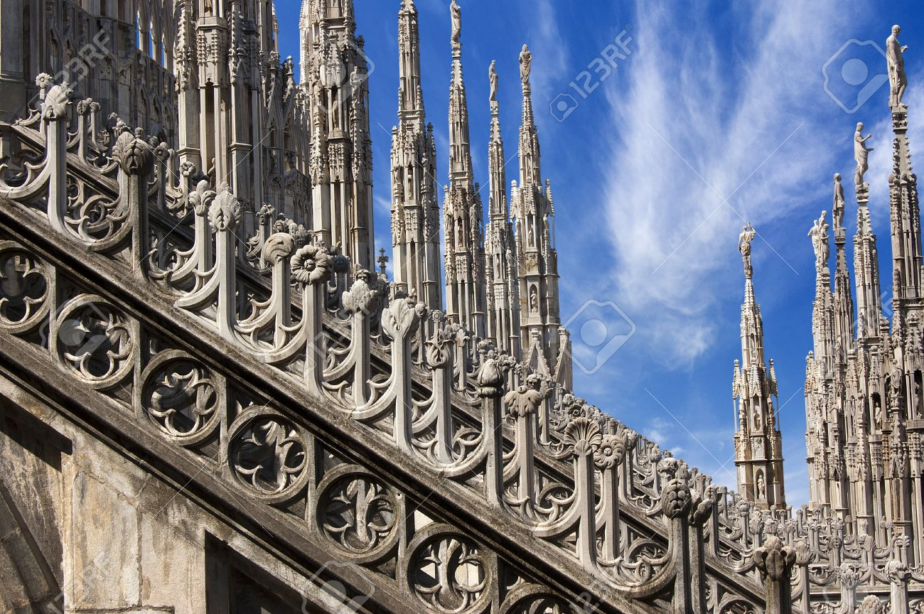 Detail Of The Buttresses Flying And Pinnacles Milan Cathedral Stock Photo