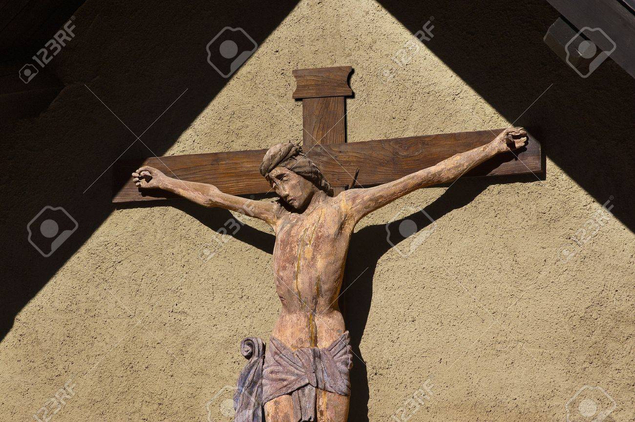 Christ on the cross - Wooden crucifix, Sanctuary of San Romedio - Trento Italy Stock Photo - 15931079