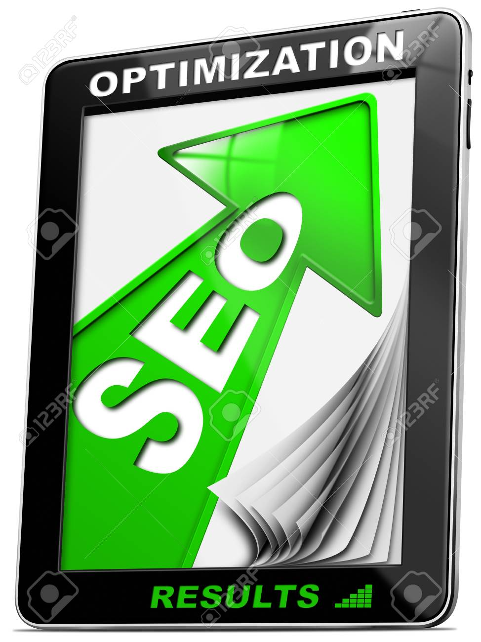 Written SEO - Search engine optimization with green arrow, globe and tablet pc Stock Photo - 16704368