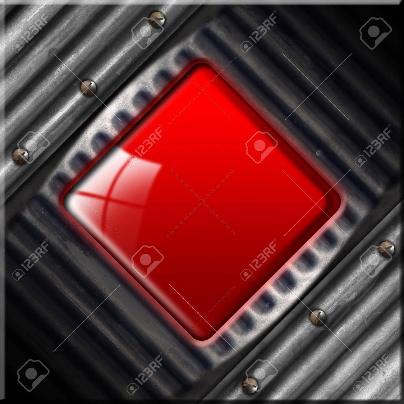 Grunge metallic abstract background with red plate Stock Photo - 16917168