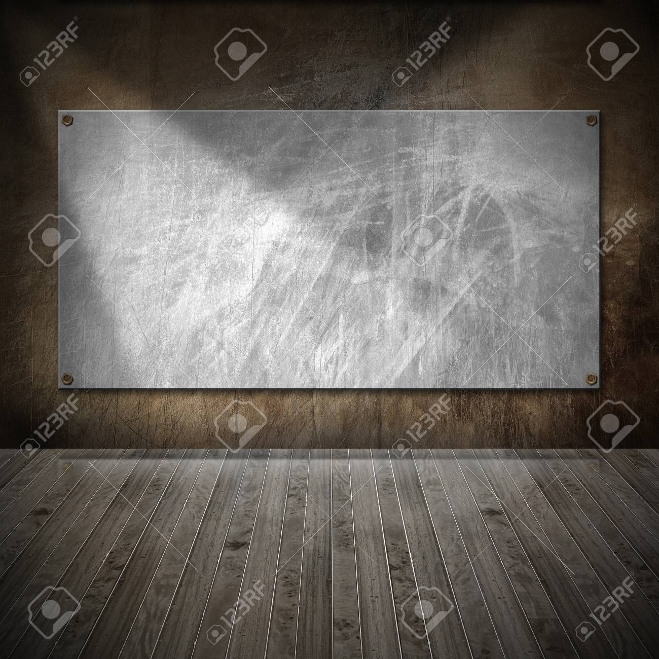 Brown metallic and wooden grunge interior with empty frame Stock Photo - 17291404