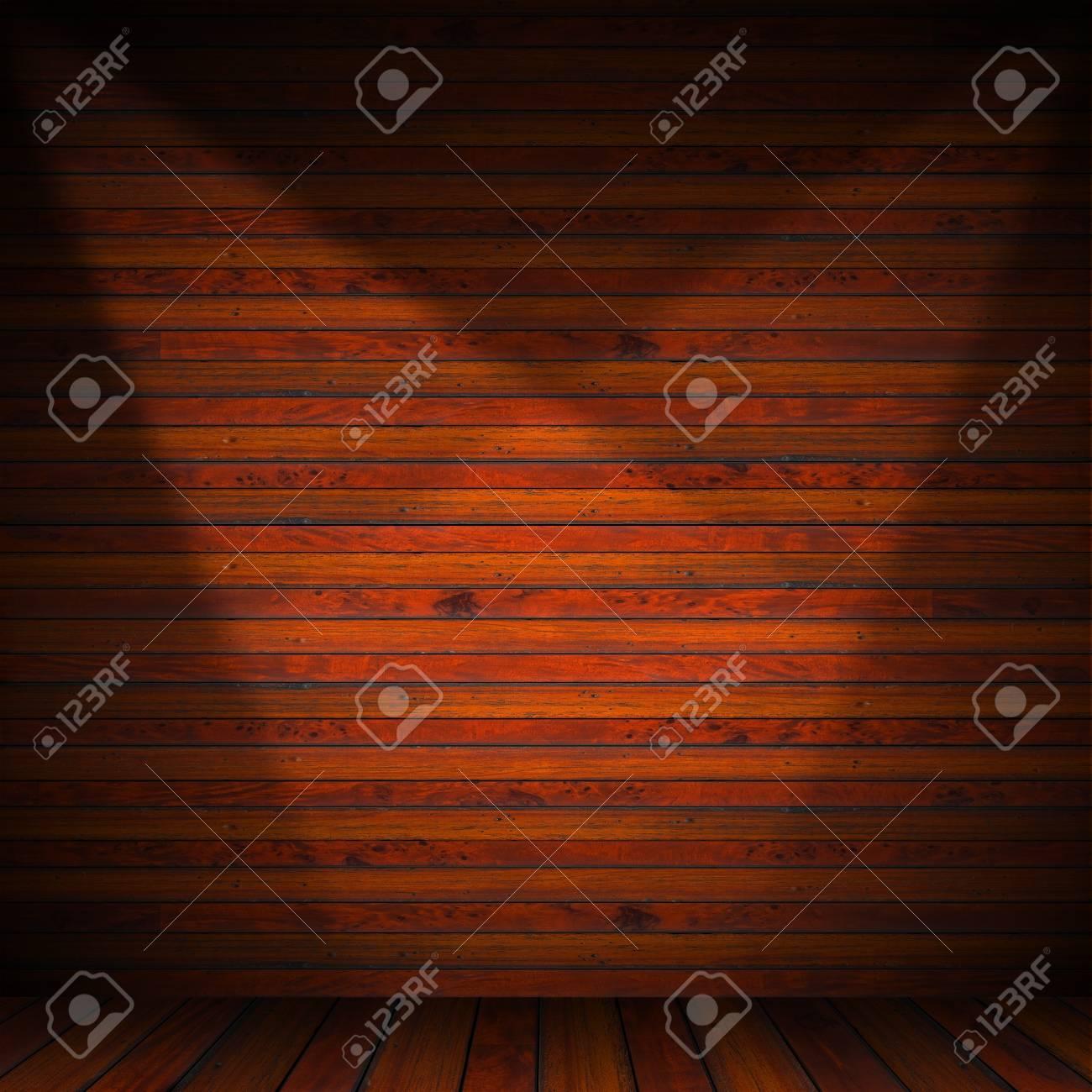 Wooden brown planks interior with illuminated Stock Photo - 17291400