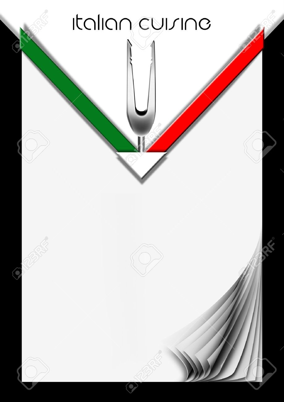 background for cover or italian menu with italian flag and fork