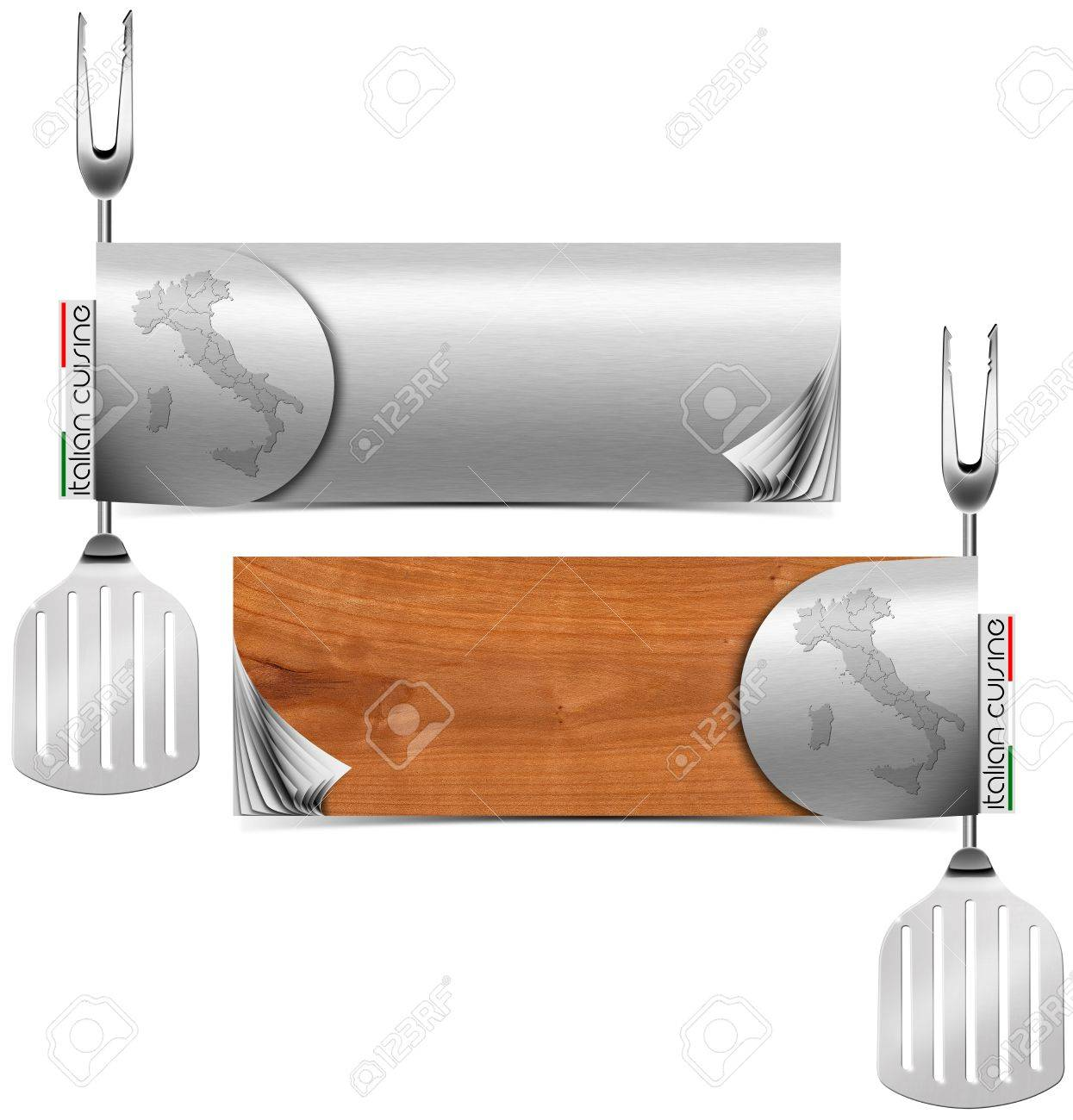 Two horizontal restaurant italian cuisine menu with blank pages, fork and spatula Stock Photo - 20209740