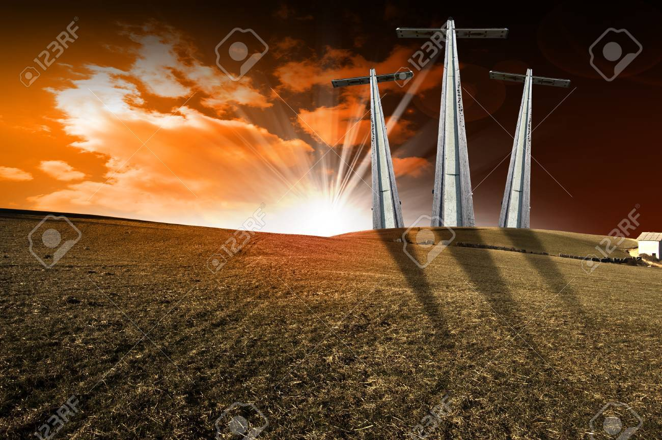Hill with three crosses at sunset symbol of christ stock photo hill with three crosses at sunset symbol of christ stock photo 22660057 biocorpaavc