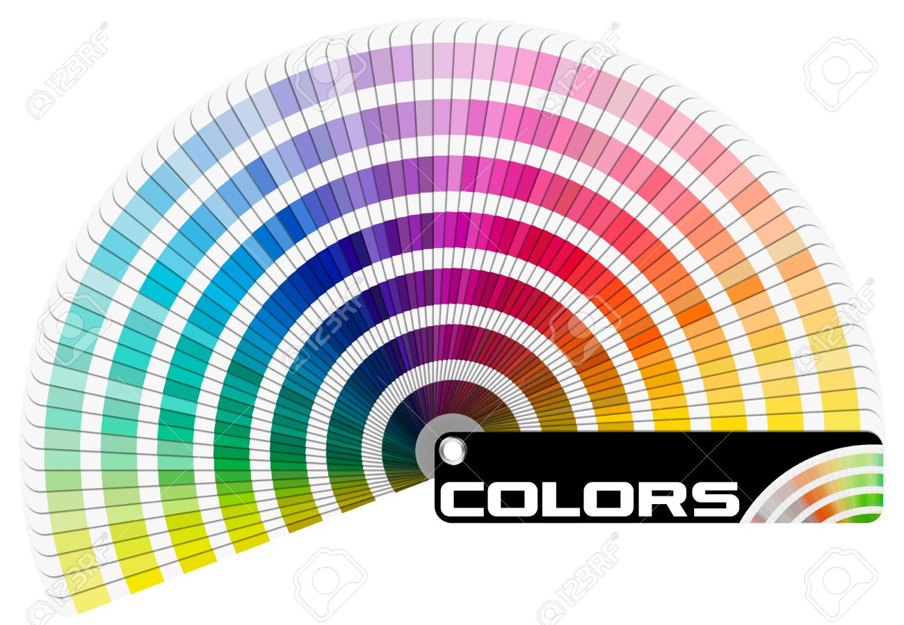 pantone color palette guide isolated on white background semicircle stock photo