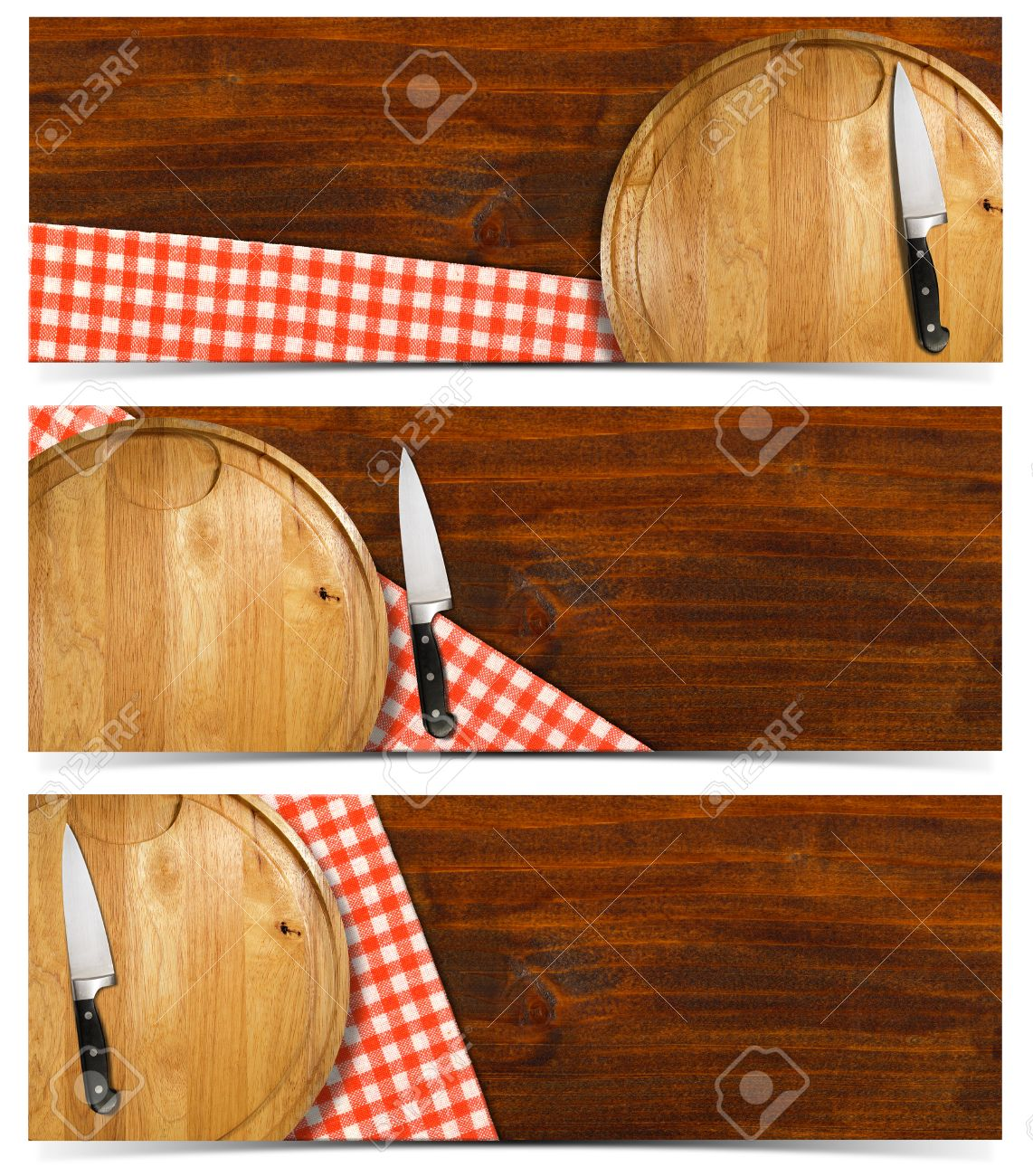 23557748 Cooking banners with round cutting board red checked tablecloth on wooden table and kitchen knife is Stock Photo