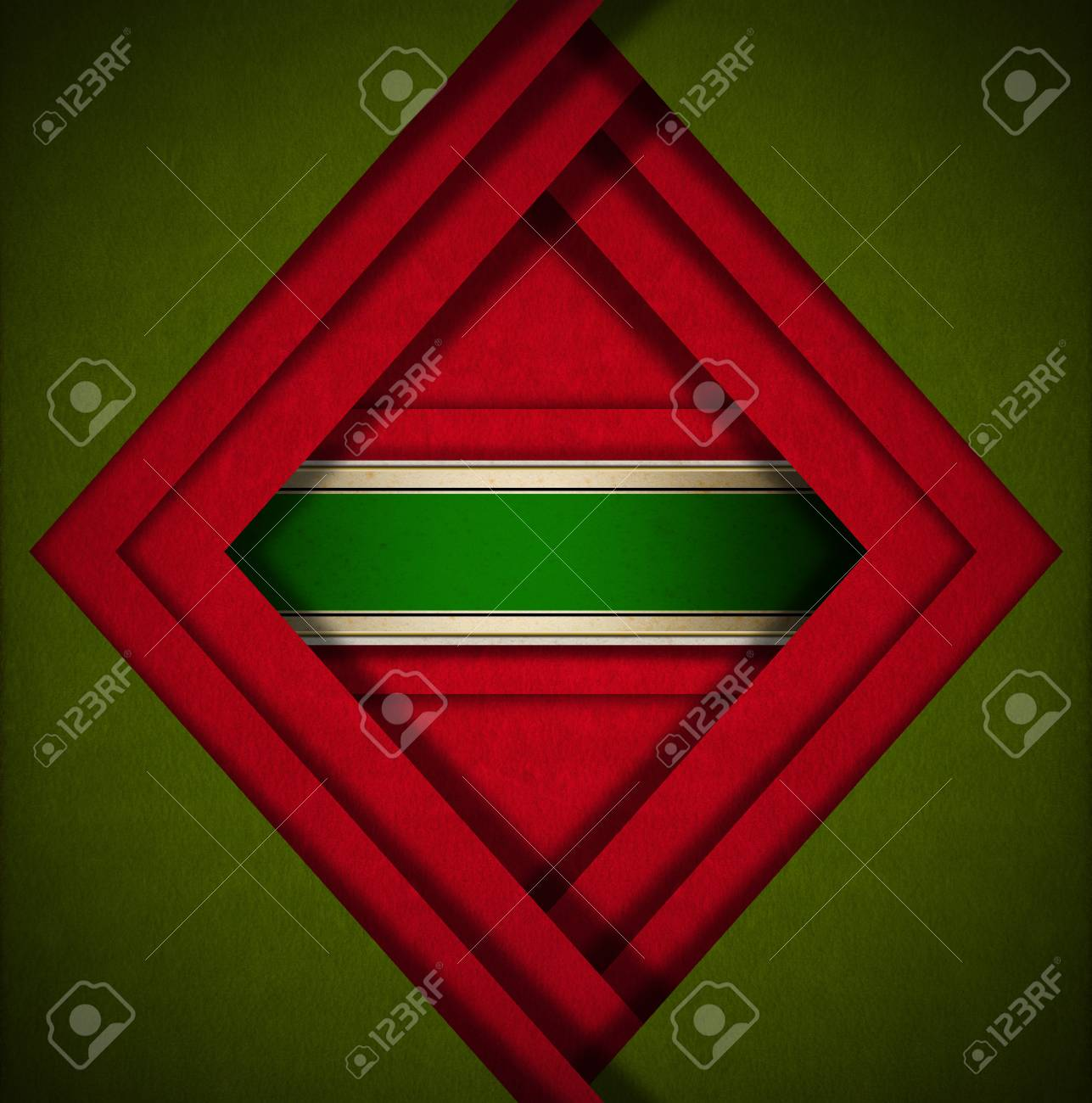 Red and green velvet background with geometric forms and green plaque Stock Photo - 24039918