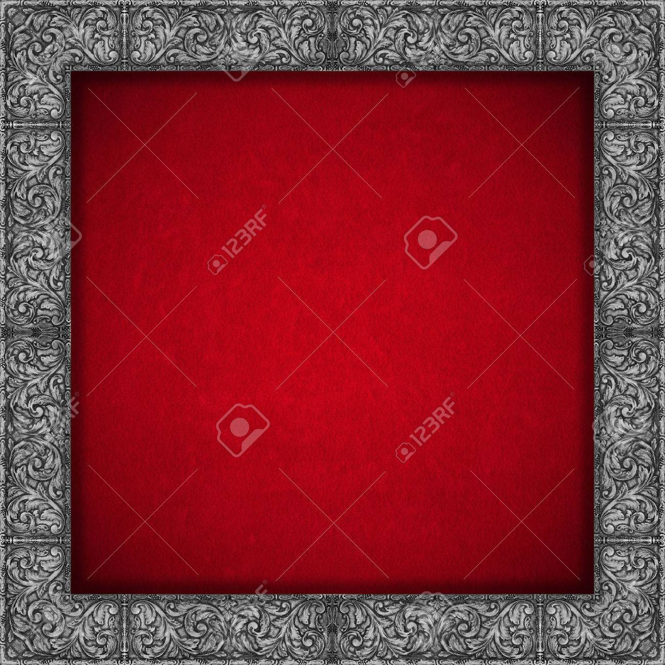 red velvet texture background with silver floral frame luxury background stock photo 24492649