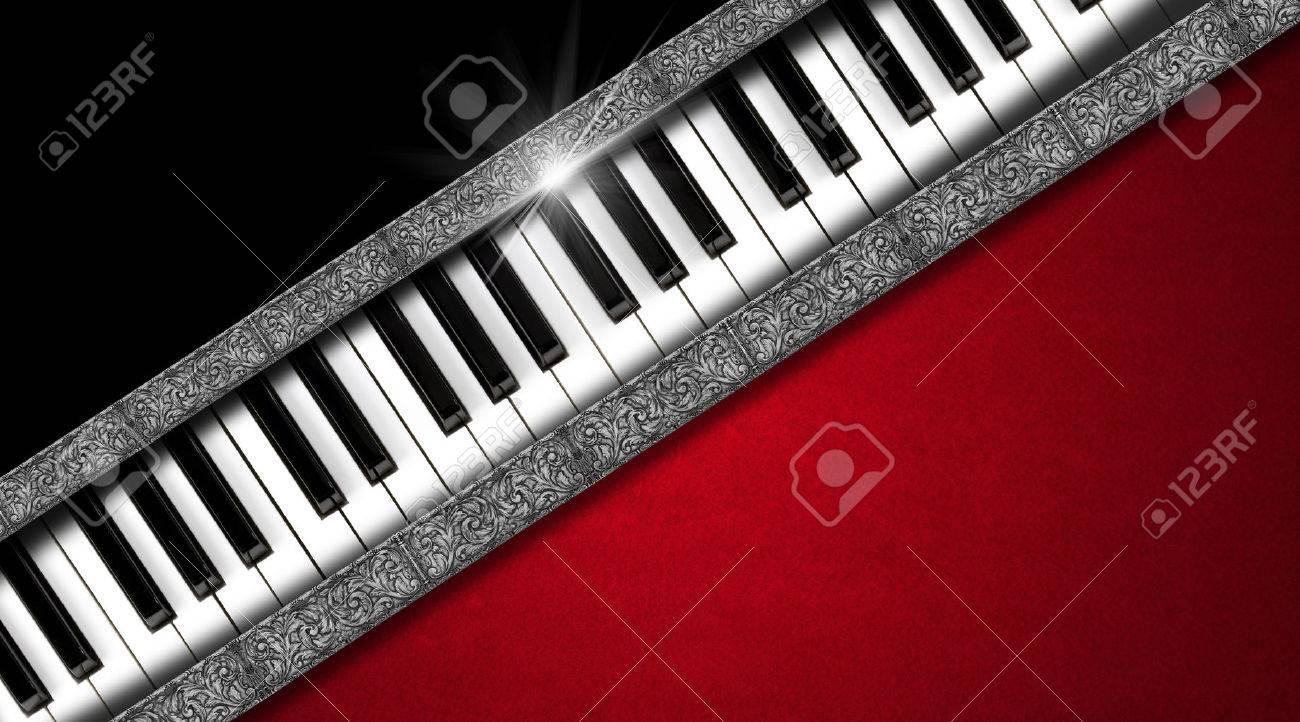 Clavier De Piano Sur Fond Noir Et Rouge Velours Bandes