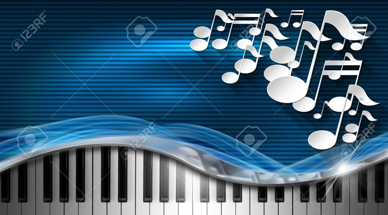 Notes Musicales Blanches Et Clavier De Piano Sur Fond Bleu Noir