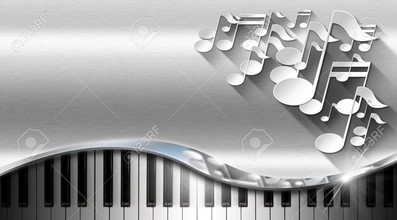 Notes Musicales Blanches Et Clavier De Piano Sur Fond Mtal Avec