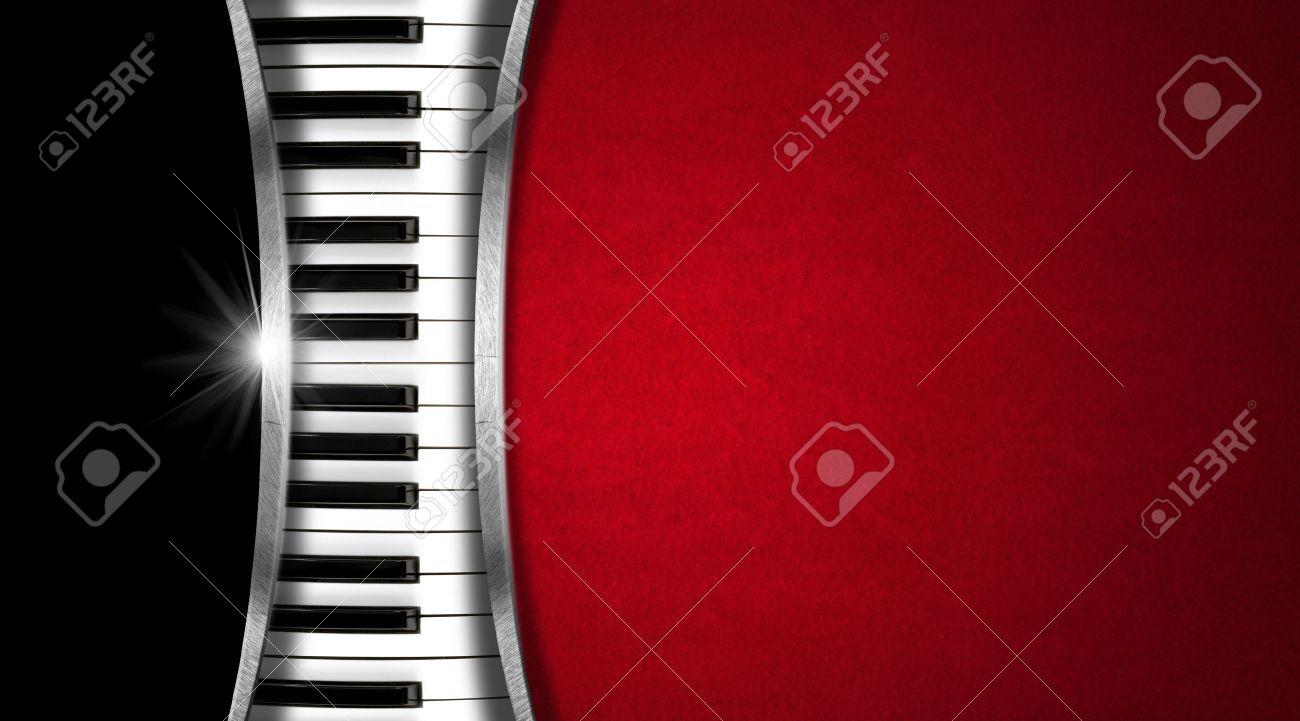 Clavier De Piano Sur Fond Noir Et Rouge Velours Mtal Rayures