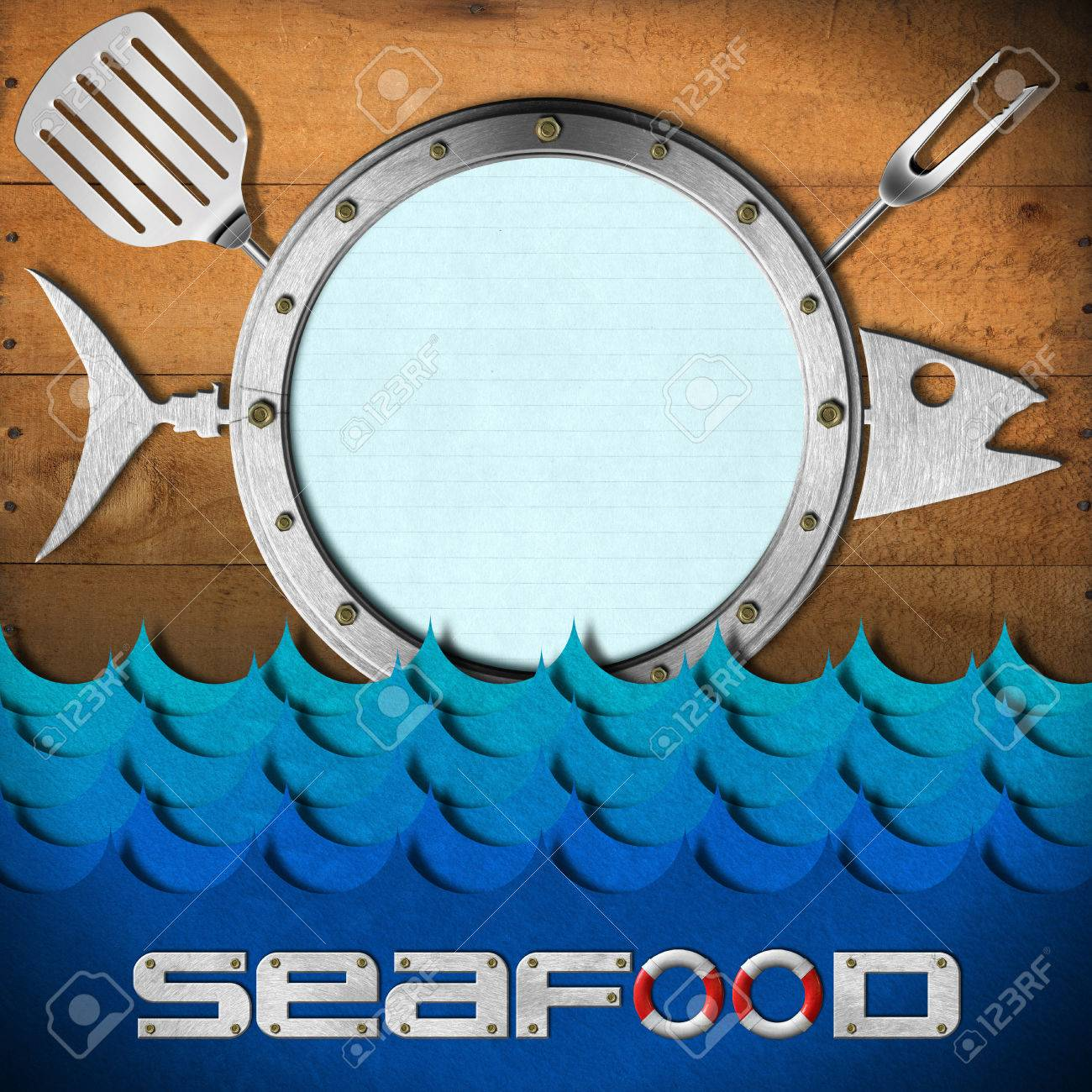 Restaurant Seafood Menu With Metal Porthole, Kitchen Utensils ...