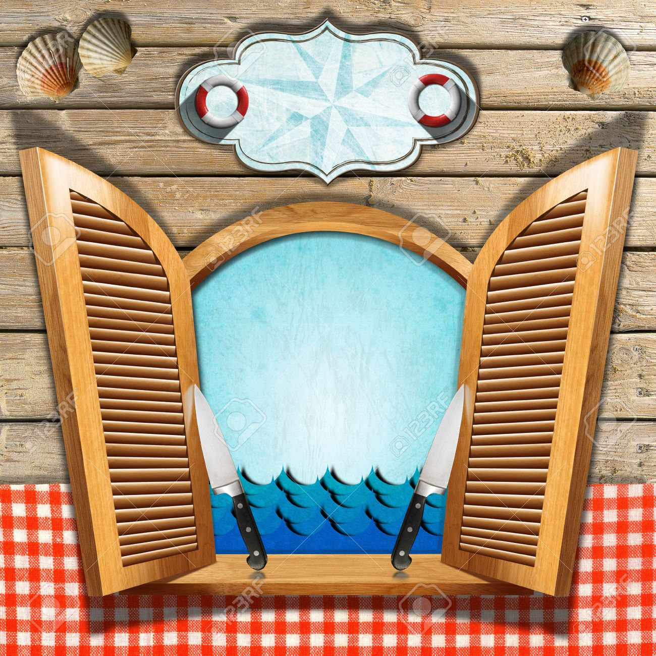 restaurant seafood menu with wooden window and open shutters