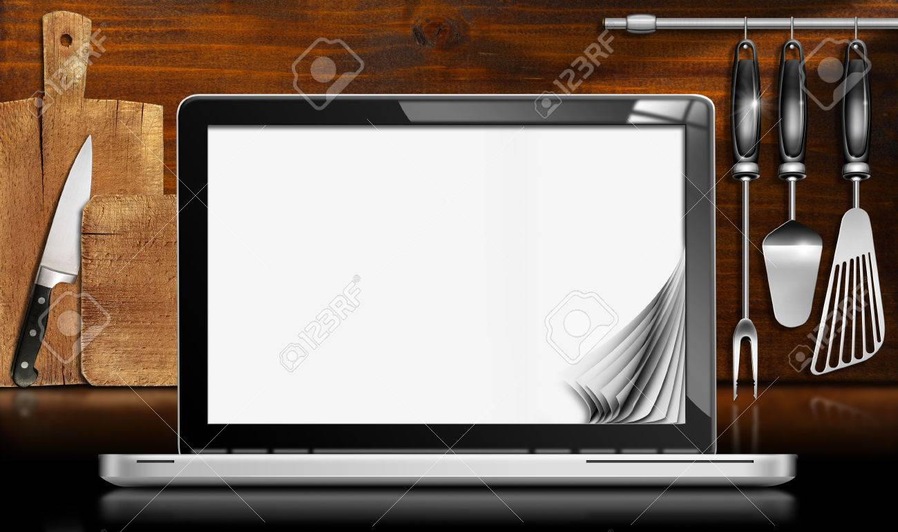 Blank Kitchen Wall Black And Metallic Laptop Computer With Blank Pages In A Kitchen
