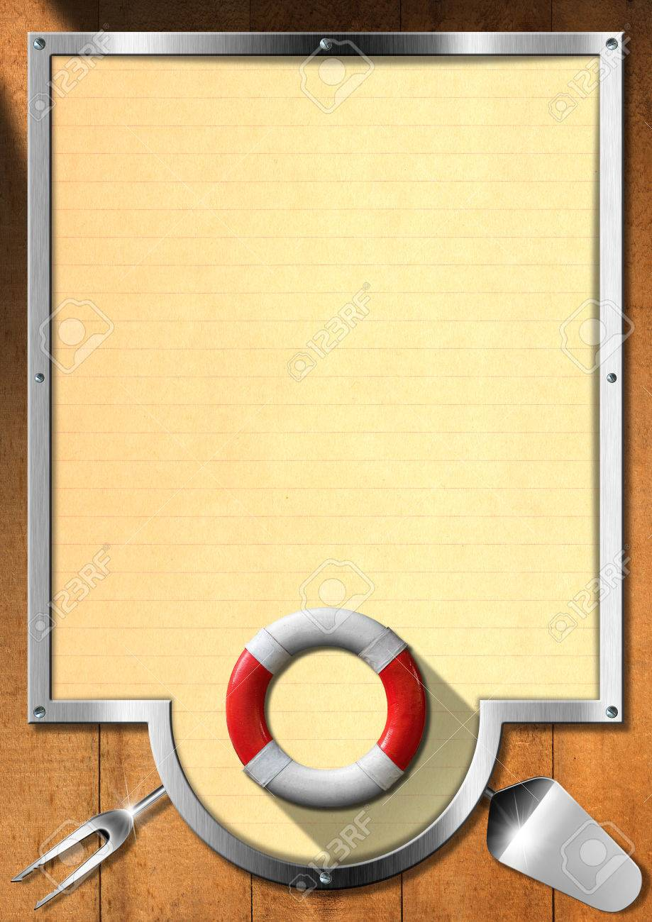 Holz-und Metallic-Hintergrund Mit Gelbem Papier, Küchenutensilien ...