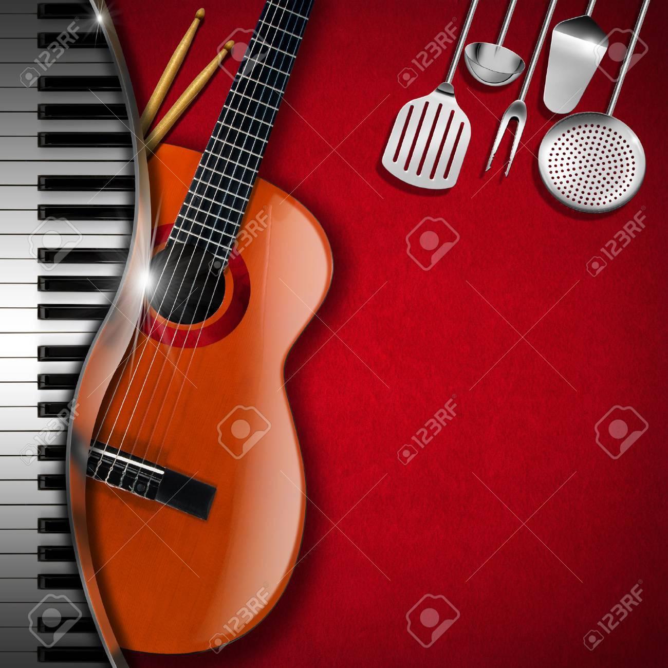 Fondo De Terciopelo Rojo Con Utensilios De Cocina, Guitarra Acústica ...