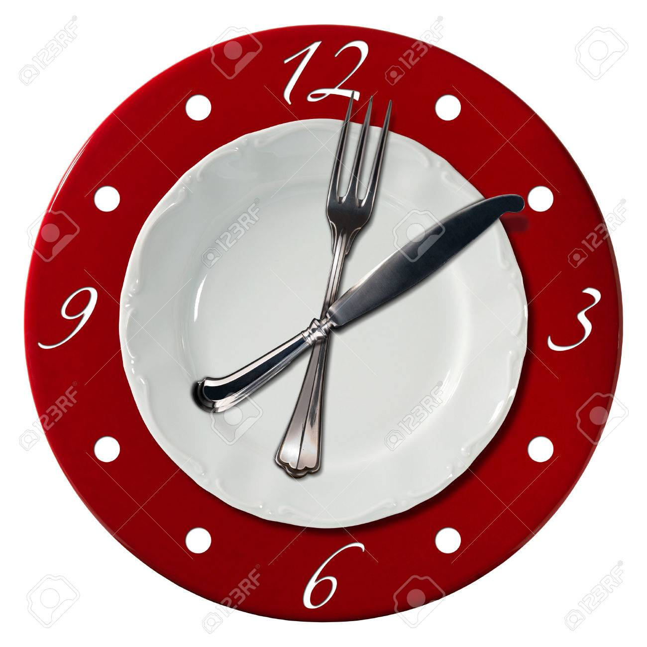 Clock Composed By A White Plate And A Red Underplate With Fork ...