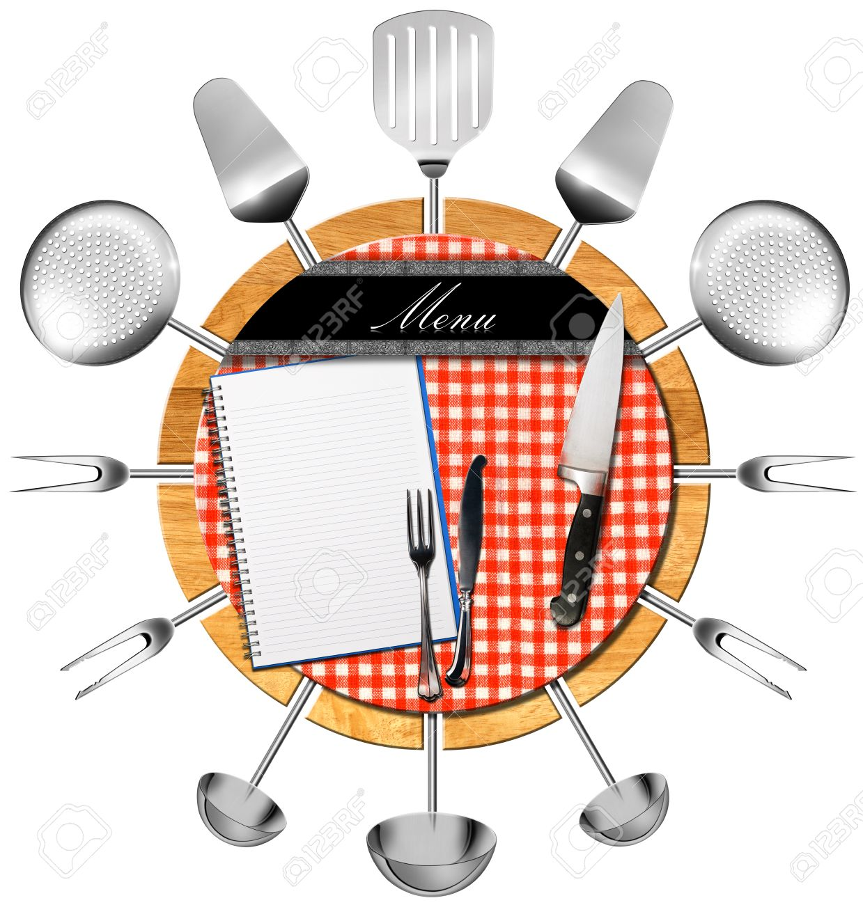 Restaurant Kitchen Utensils restaurant menu on round cutting board with kitchen utensils