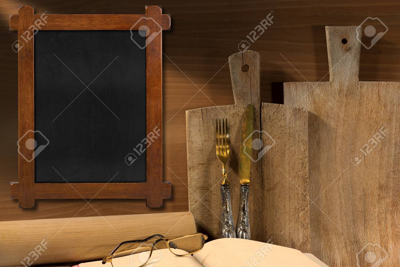 Wooden Wall With Rustic And Empty Blackboard Two Cutting Boards Stock Photo Picture And Royalty Free Image Image 34322936