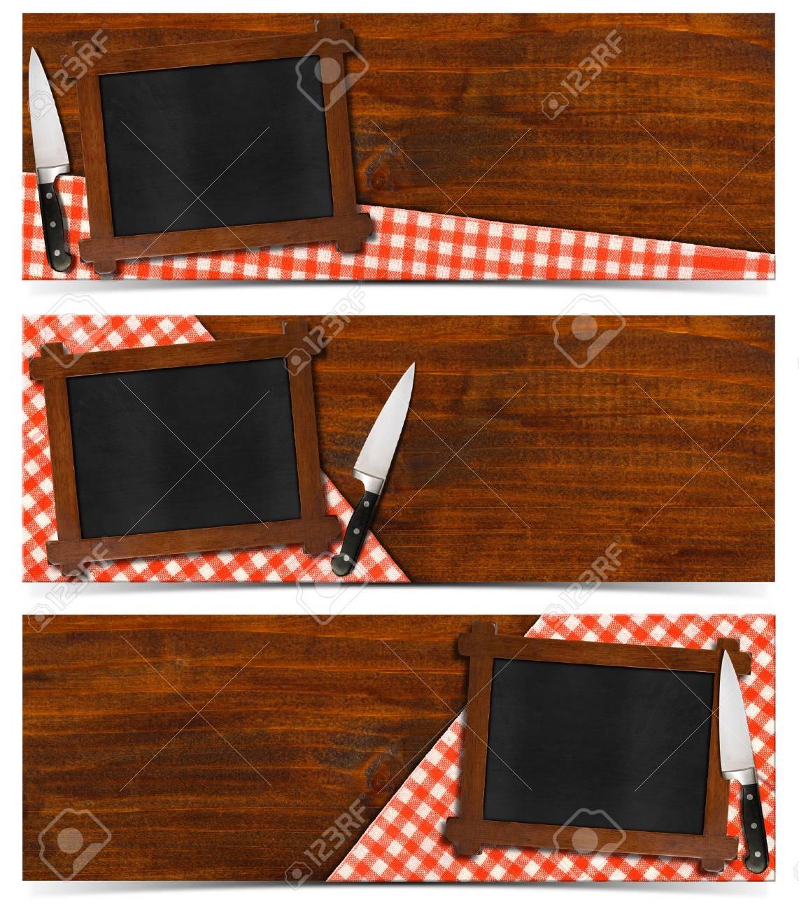 Collection De Trois Bannieres De Cuisine Avec Tableau Vide Avec
