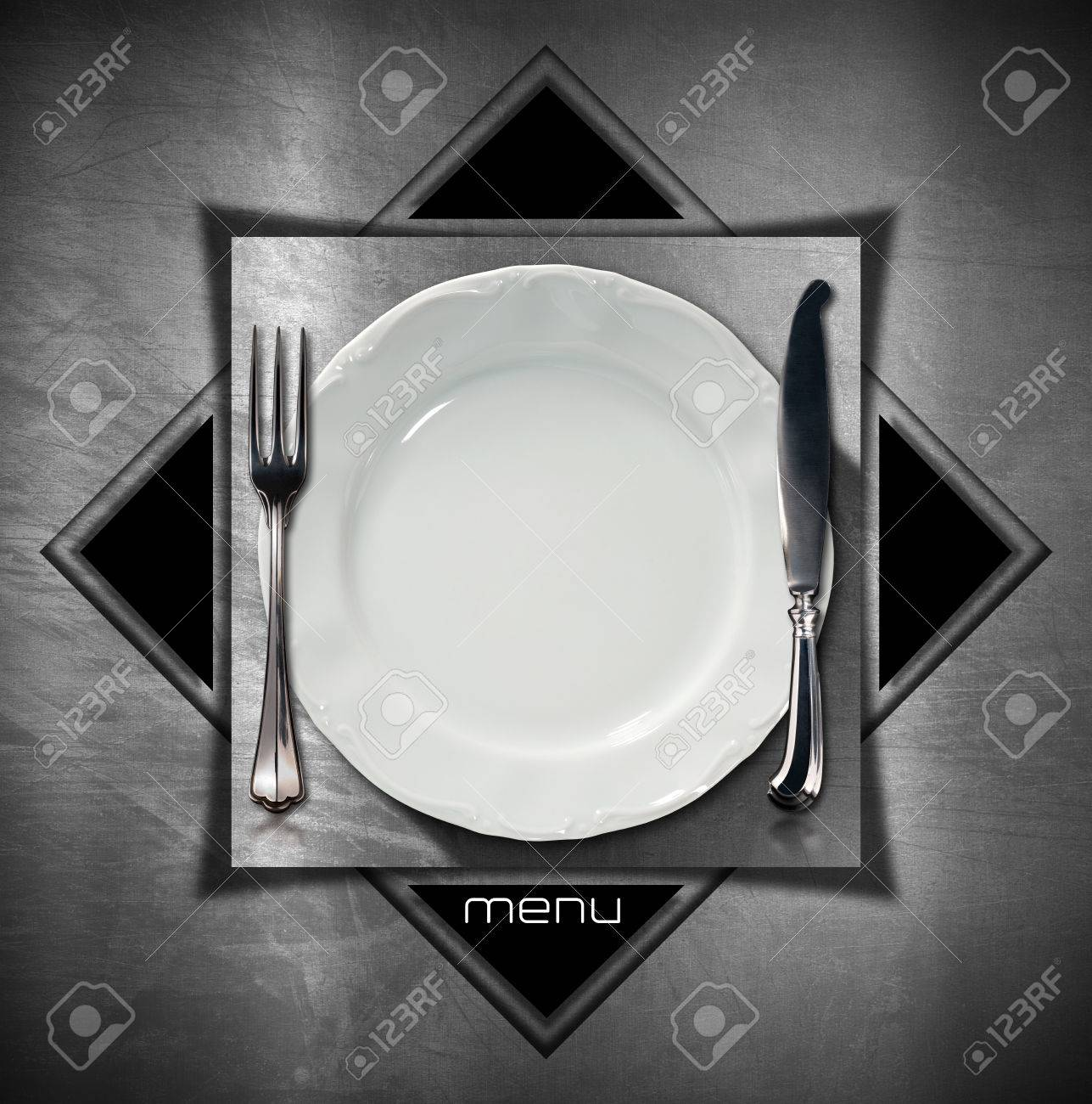Steel stainless background with geometric shapes square and triangles with empty plate and cutlery. & Steel Stainless Background With Geometric Shapes Square And.. Stock ...