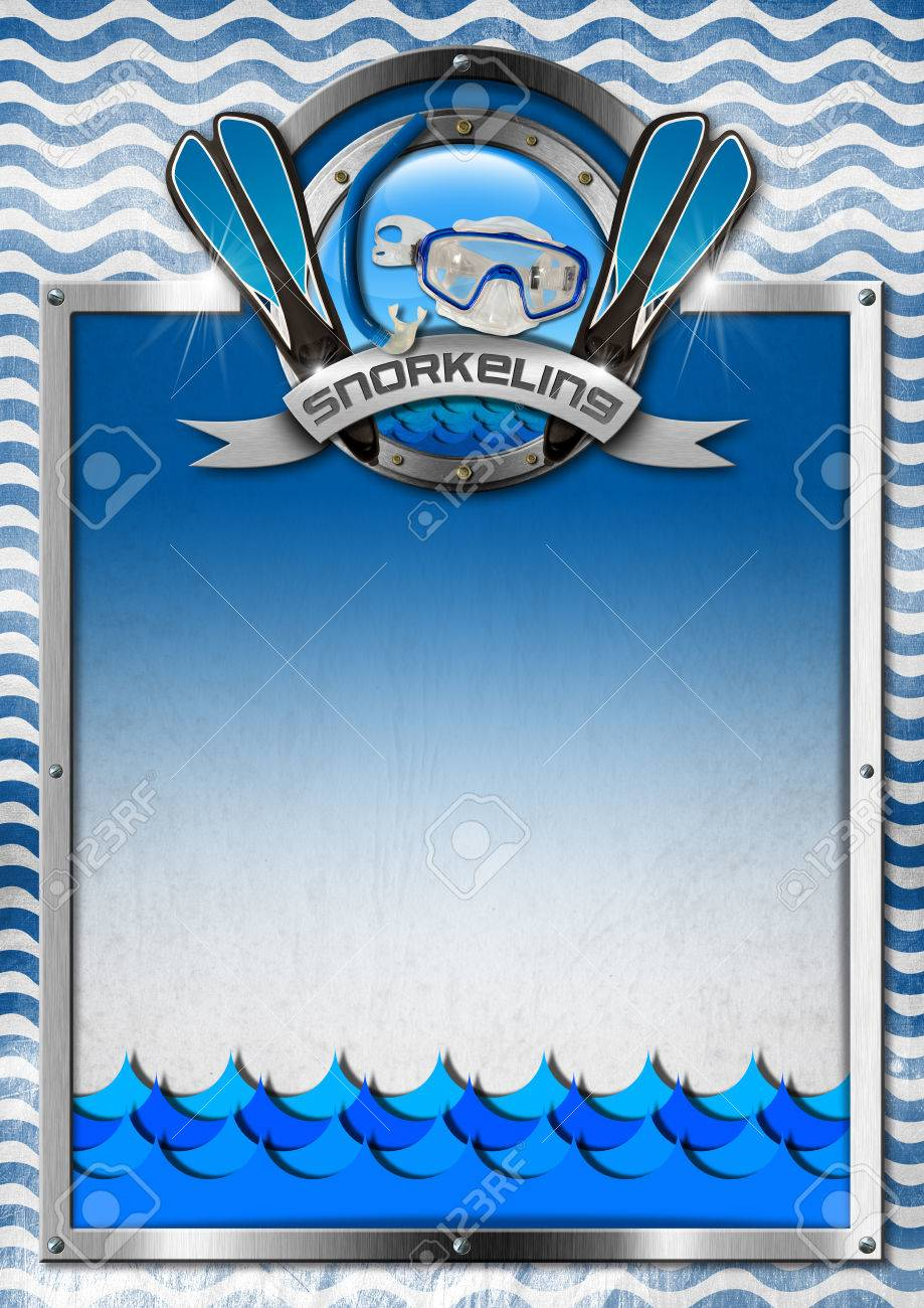 Vertical signboard with metal frame and blue and white waves vertical signboard with metal frame and blue and white waves snorkeling metal symbol template biocorpaavc Image collections