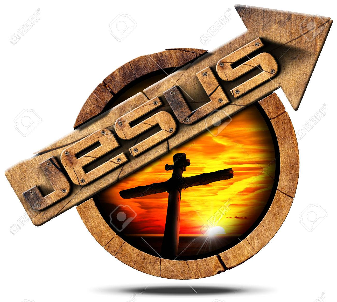 Wooden Signage With Arrow And Text Jesus Cross Silhouette At