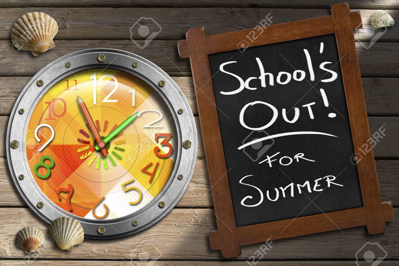 Tafel Mit Holzrahmen Und Aus Text Schule Für Den Sommer Bunte Uhr In ...
