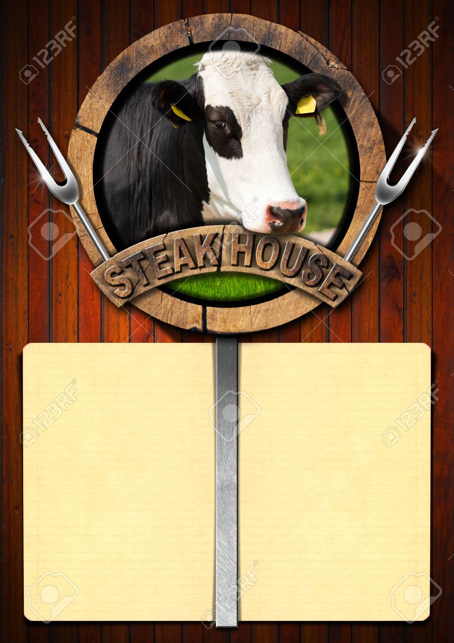 Wooden background with yellow empty paper wooden symbol with wooden background with yellow empty paper wooden symbol with head of cow two forks and text buycottarizona