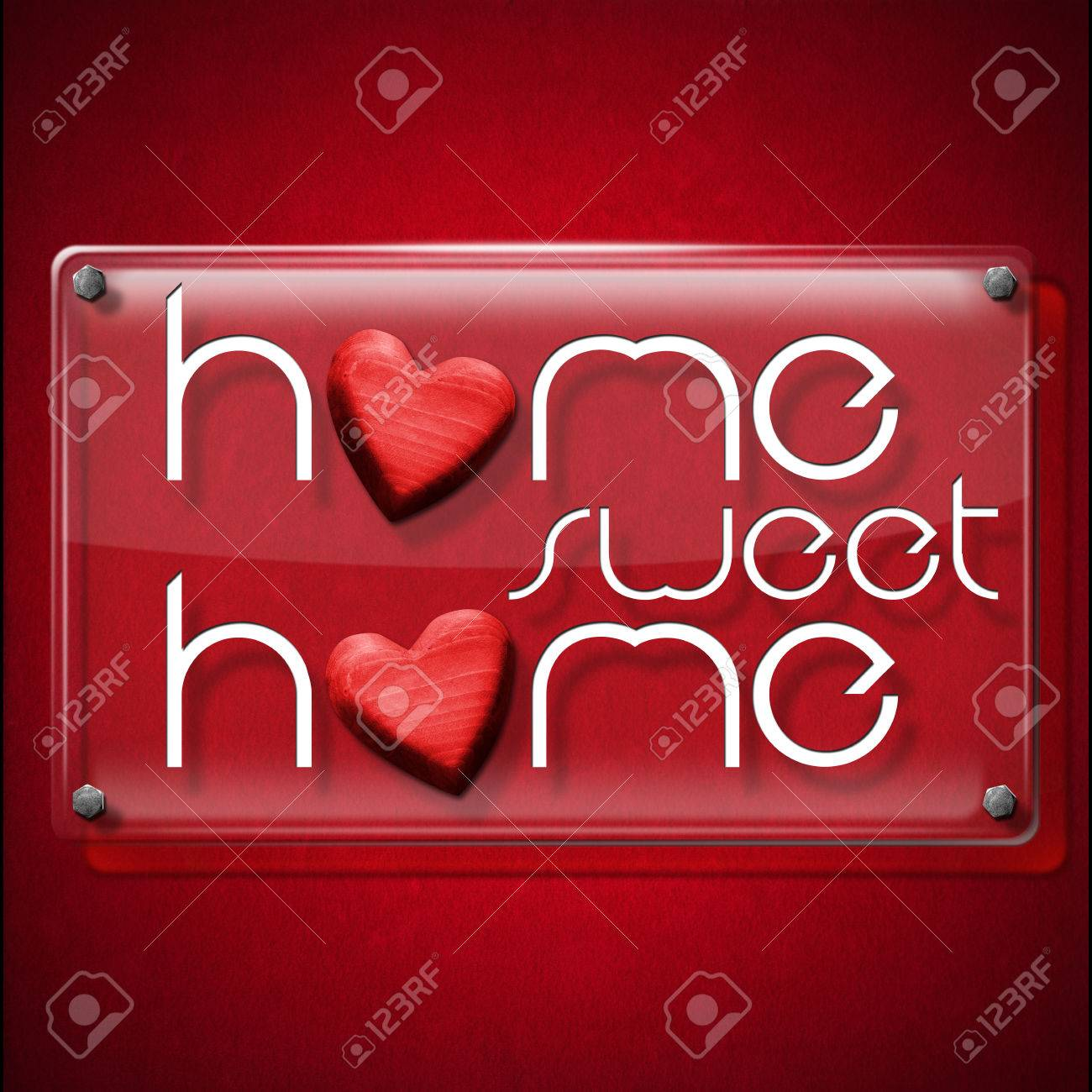 Glass Or Plexiglass Frame With The Text Home Sweet Home On A Stock
