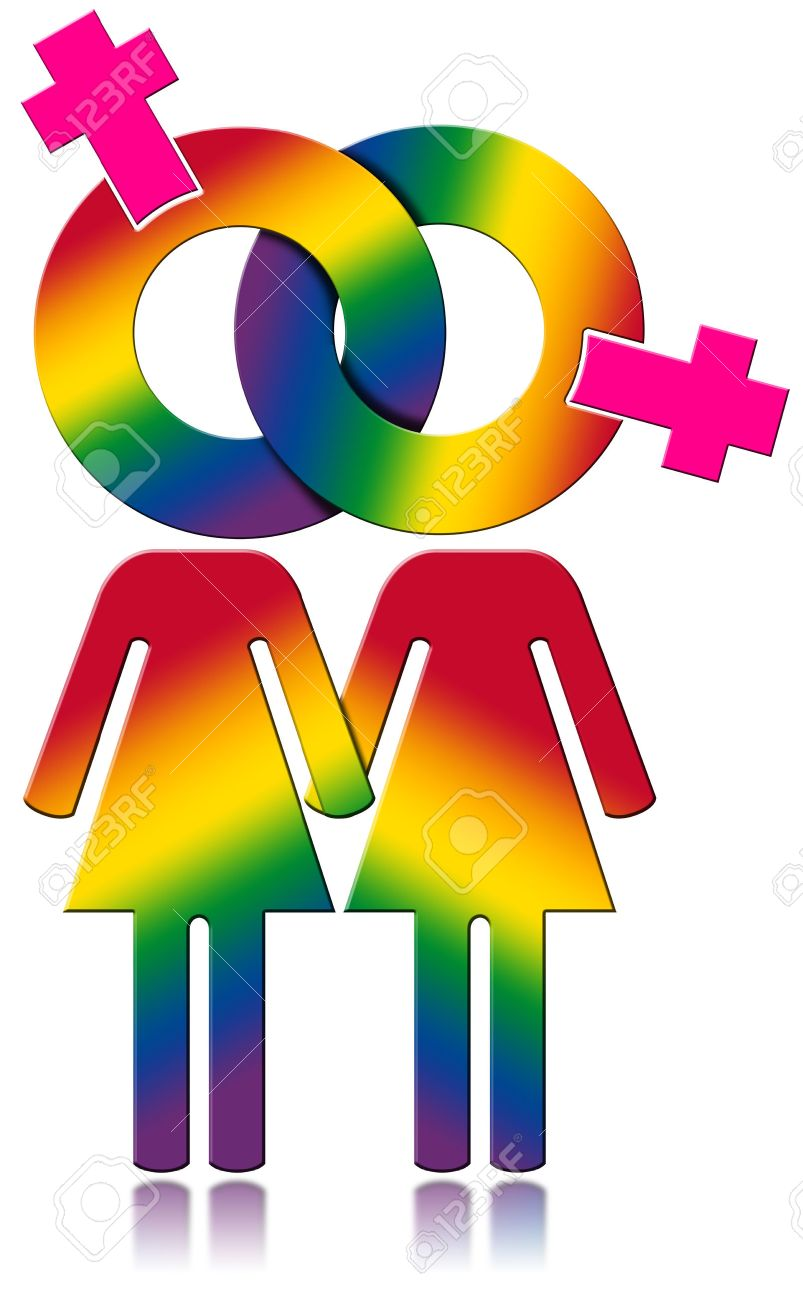 Lesbians symbol with the colors of the rainbow - Lesbian relationship  concept. Isolated on white 39bd84428